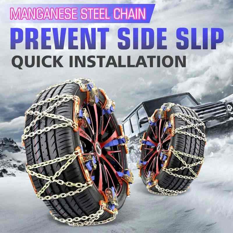 Universal เหล็กรถบรรทุกล้อยางยางหิมะน้ำแข็งโซ่เข็มขัดฤดูหนาว Anti-Skid SUV ล้อโคลนแผนที่ความปลอดภัย