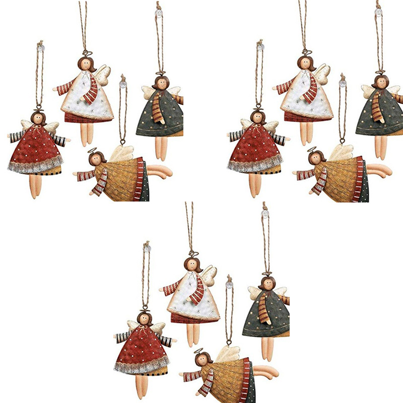 Dancing Metal Angels Decor, Various Colors, Christmas Ornaments Angel Dancing Christmas Tree Ornaments, 12 Per Set
