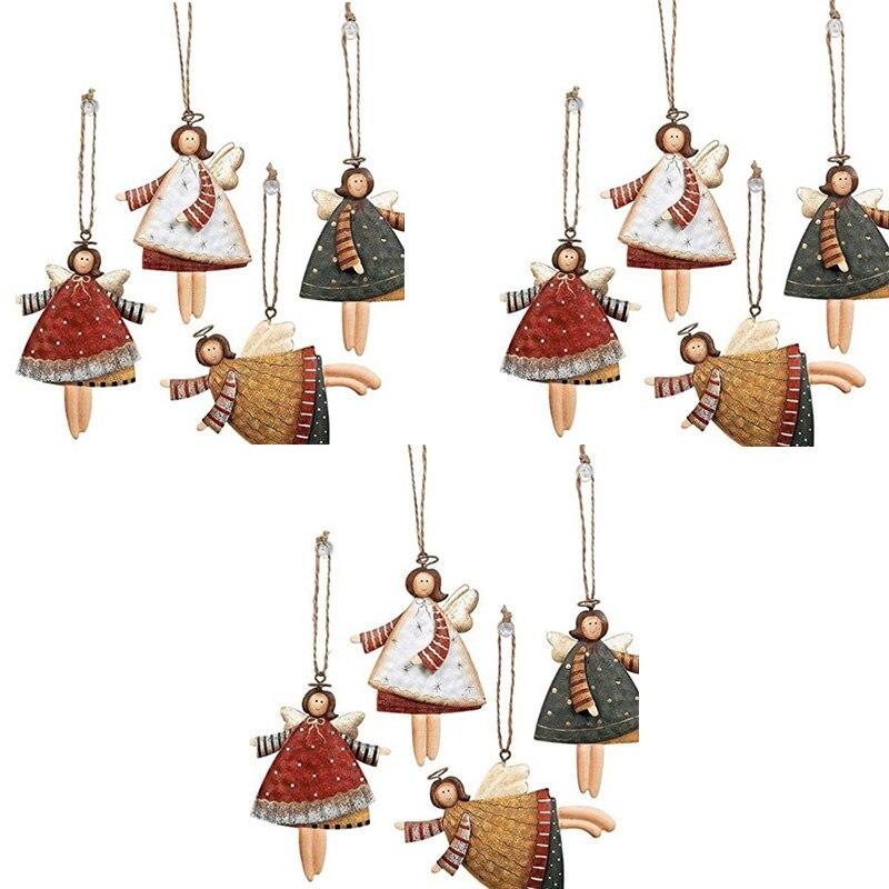 Dancing Metal Angels Decor, Various Colors, Christmas Ornaments Angel Dancing Christmas Tree Ornaments, 12 Per Set