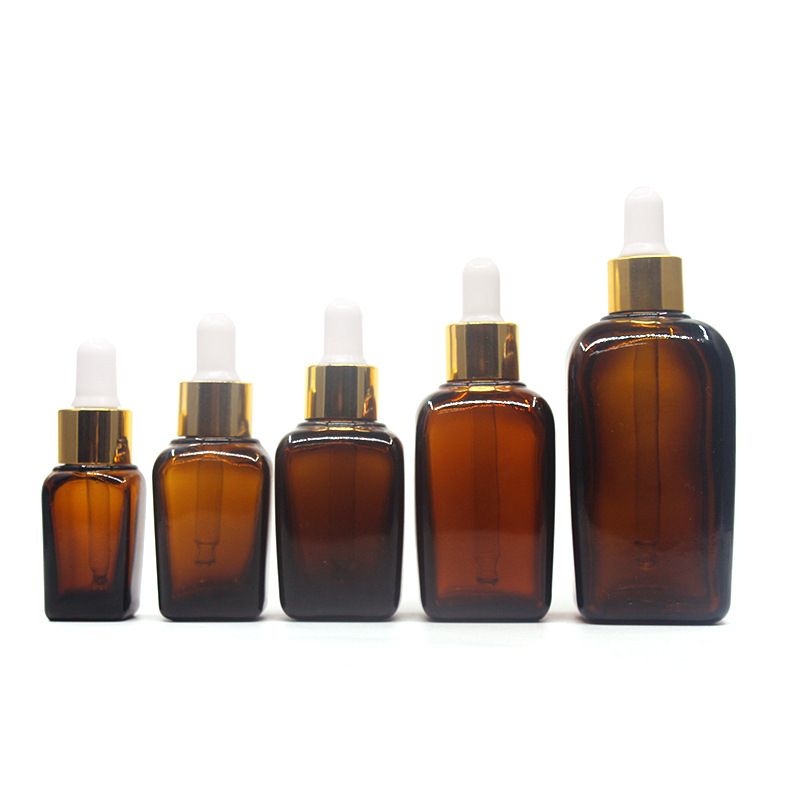 15-100ml Dropper Bottle Amber Glass Golden Cover Liquid Reagent Pipette Bottle Eye Dropper Drop Aromatherapy <font><b>Container</b></font> Glass image