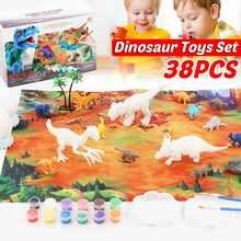 36 sztuk zestaw DIY kolorowanie 3D malowanie zwierzę Model dinozaura rysunek Graffiti zestaw zabawek dla dzieci dzieci nietoksyczne farby sztuki dla dzieci tanie tanio JJRC CN (pochodzenie) Z tworzywa sztucznego NONE
