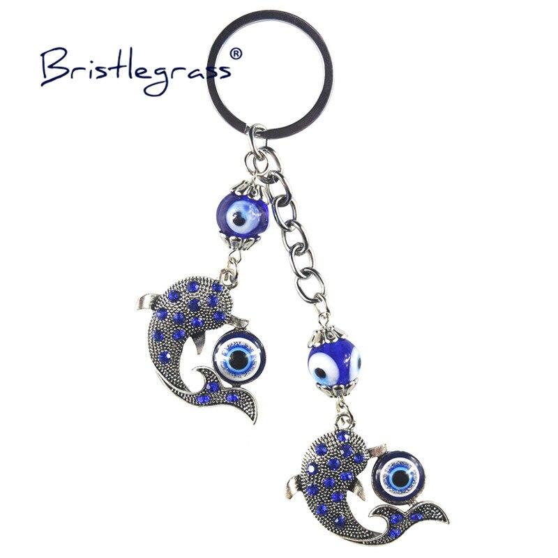 BRISTLEGRASS Turkish Blue Evil Eye Rhinestone Dolphin Key Chains Ring Holder Lover Keychain Amulet Lucky Charm Blessing Pendants