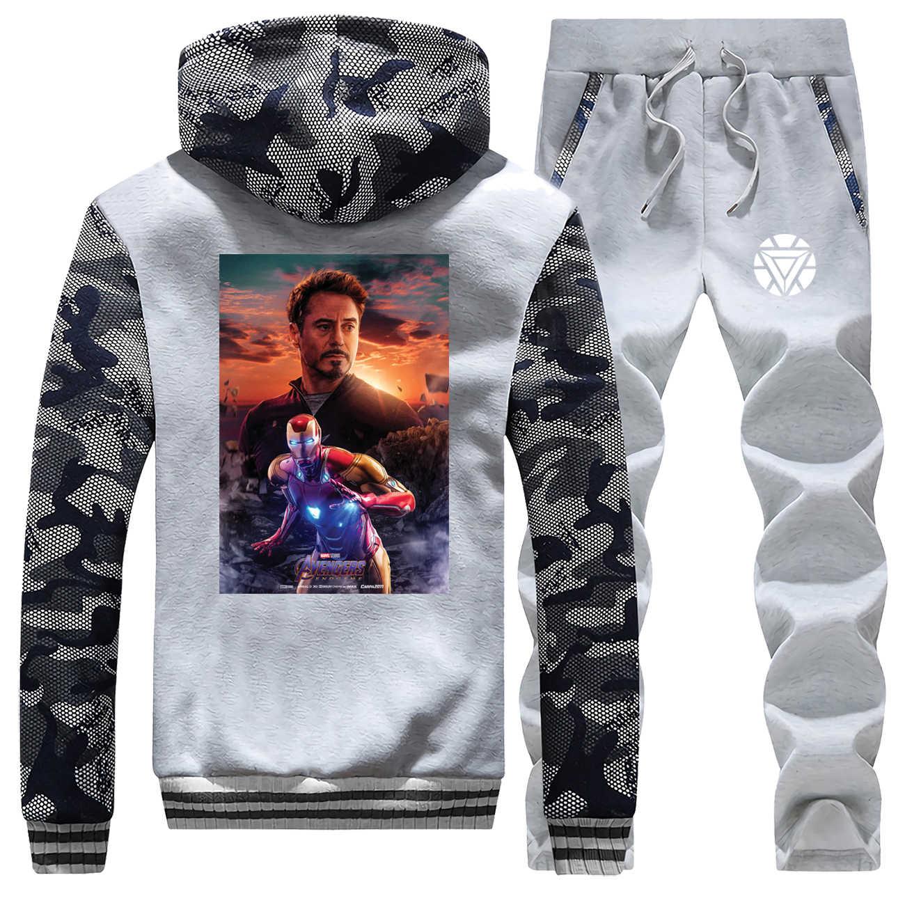 Tony Stark de camuflaje de hombre de hierro hombre Sudadera con capucha pantalones de lana Set de traje para hombres vengadores gimnasio traje de invierno chaleco acolchado de 2 piezas conjuntos
