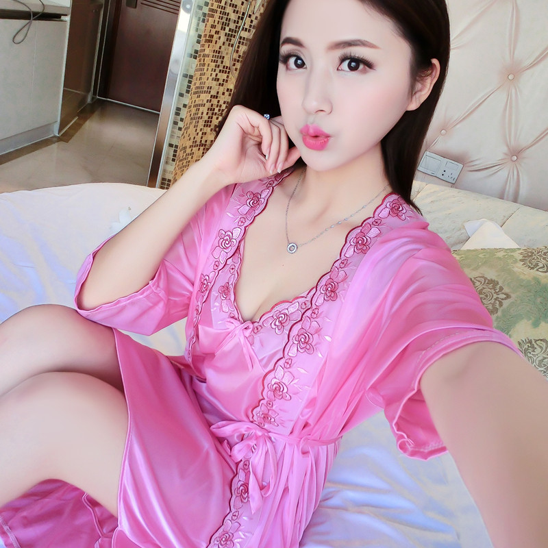 Summer Nightgown Female Summer Sexy Viscose Summer Loose-Fit X-long Bathrobe Thin Type For Spring And Autumn Lace-up Silk Pajama