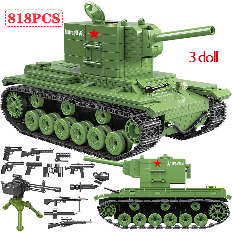 Military Soviet KV 2 Heavy PanzerTank Building Blocks Compatible WW2 Soldier Police Jedi Tank Bricks Toys For Boys