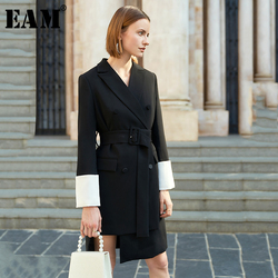 [EAM] Women Black Asymmetrical Double Breasted Dress New Neck Notched Long Sleeve Loose Fit Fashion Spring Autumn 2020 1S070