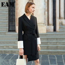 [EAM] Women Black Asymmetrical Double Breasted Dress New Nec