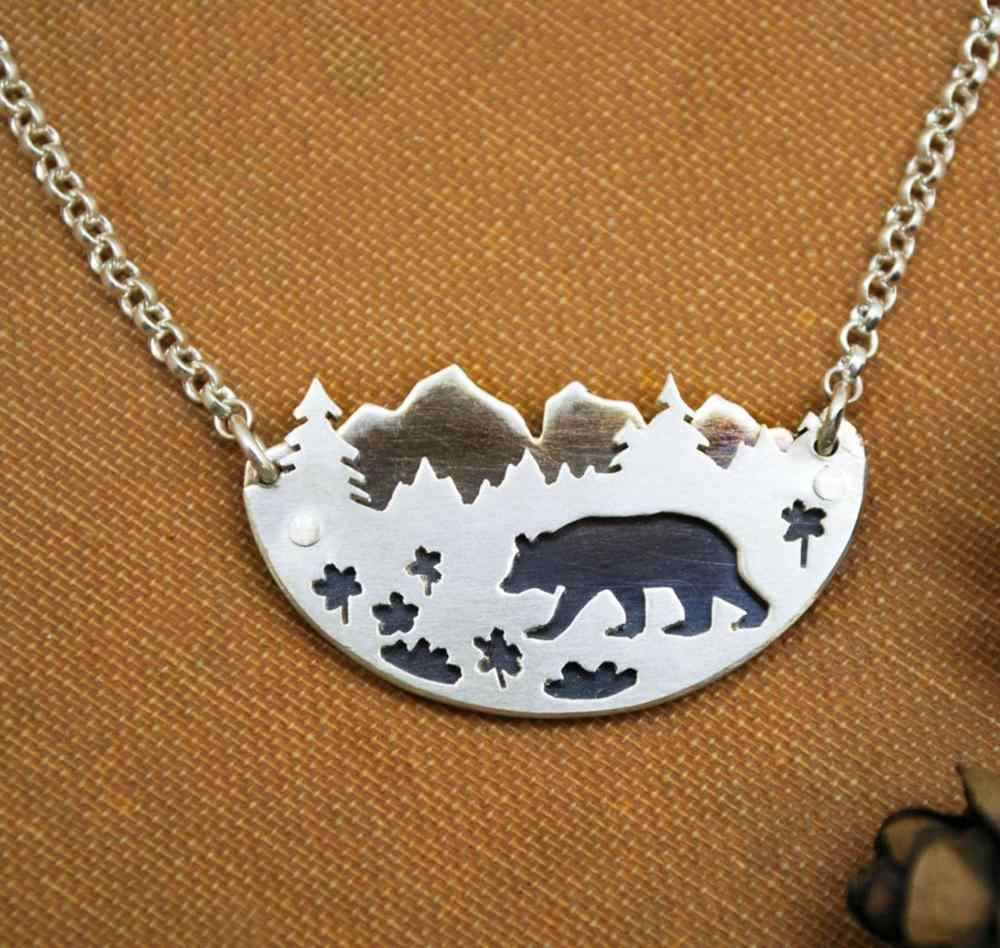 Mountain Fox Bear Pendant Mountain Range Tree Landscape  Necklace Forest Woodland Bear Desert Cactus Gift for Nature Lovers Gift