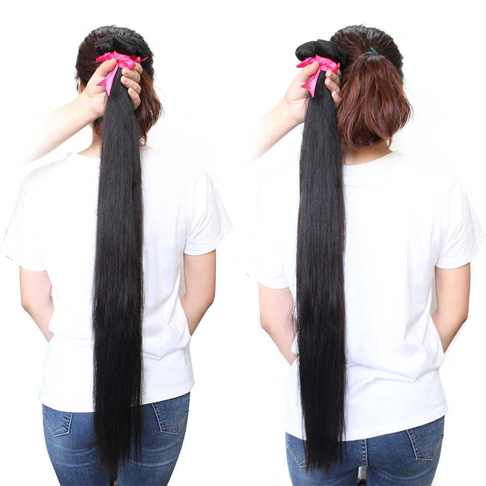 CEXXY Human Hair Bundles Brazilian Hair Weave Bundles Straight Remy Hair Natural Color 1/3/4 Long Hair Extension 30 Inch Bundles