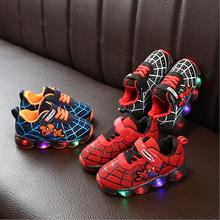 Brand Cartoon Boys Spider Man Shoes Child Glowing Sneakers M