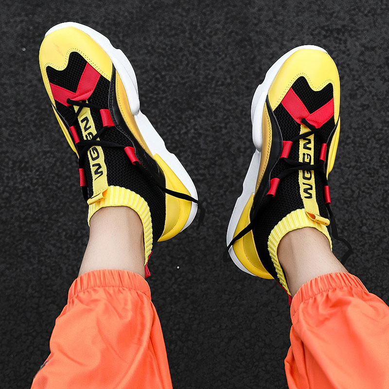 2020 New Classic Trendy Fashion High-top Tide Socks Shoes Color Matching Sports Casual Flat Lace-up Casual Shoes Men's Shoes