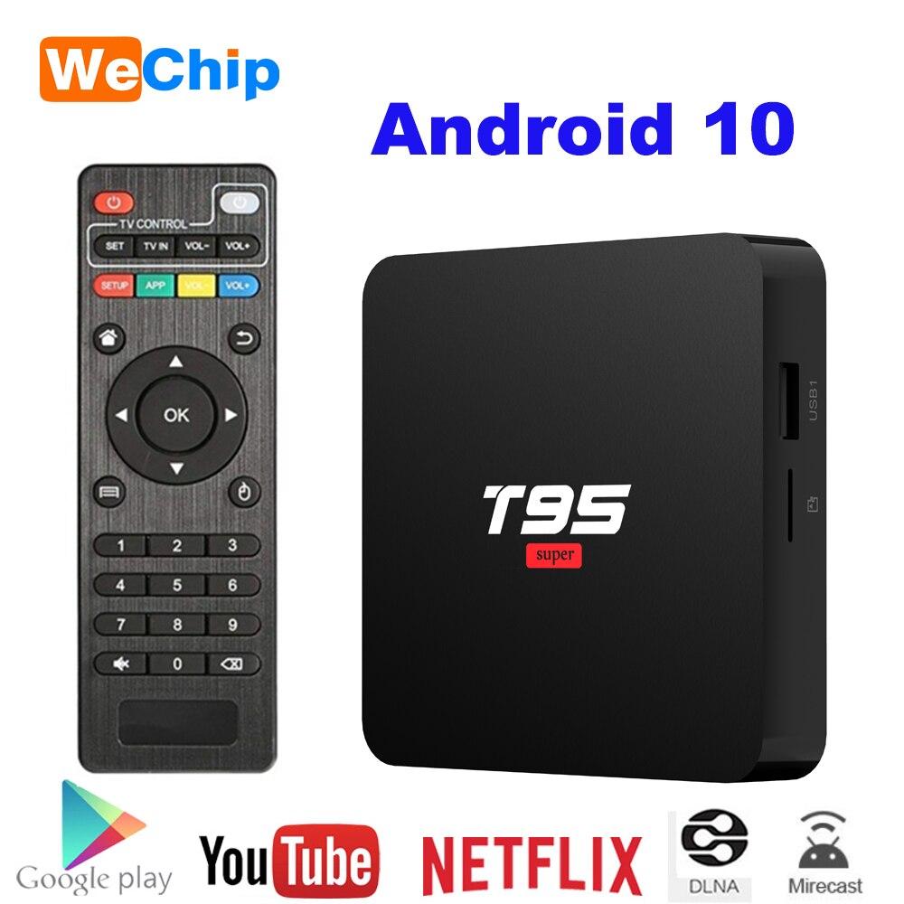 Wechip Android 10 TV Box T95 Super Smart Android TV Box Allwinner H3 GPU G31 2GB DDR3 RAM 16GB 2.4G WiFi HD OTT Media Player