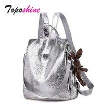 Topashine mochila informal antirrobo de cuero PU para mujer, bolso de hombro de colegio para niñas, color negro/plateado, novedad de 2020