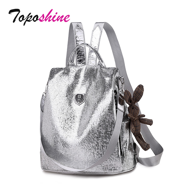 Toposhine 2019 New Casual Women Backpacks PU Leather Anti-Theft Black Backpack Girls School Shoulder Bag With Bear Black/Silver