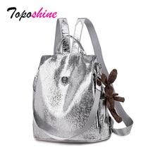 Toposhine 2020 nouveau décontracté femmes sacs à dos en cuir PU Anti vol noir sac à dos filles école sac à bandoulière avec ours noir/argent