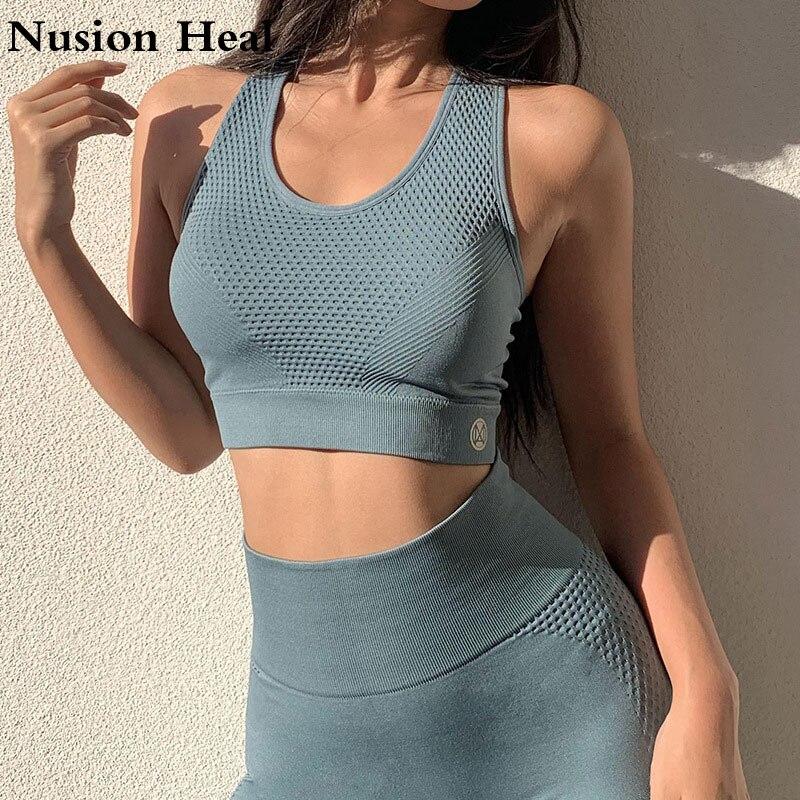 2020 Seamless Sport Bra Women Sexy Crop Top Gym Yoga Shirts Workout Tops Running Yoga Bra Breathable Mesh Fitness Bra Sportswear