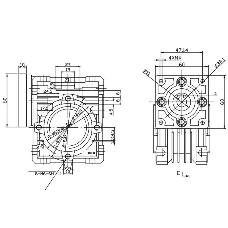 10:1 wurm Minderer Nmrv030 Minderer-Wurm Getriebe Minderer Serie-Minderer Getriebe