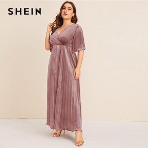 Image 3 - Shein 플러스 사이즈 플러터 슬리브 pleated 벨벳 드레스 여성 가을 겨울 v 넥 라인 제국 매력적인 파티 맥시 드레스
