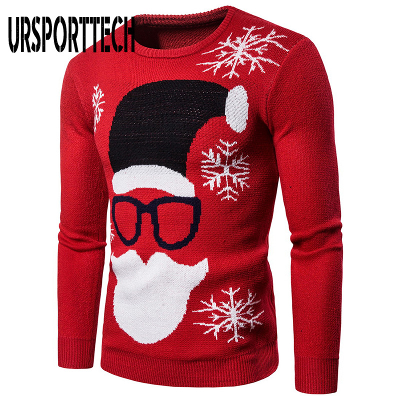 Plus Size XXL Christmas Sweater Men Santa Print Pull Homme Men Sweater Pullover Long Sleeve O-Neck Knitted Sweaters Men Clothing
