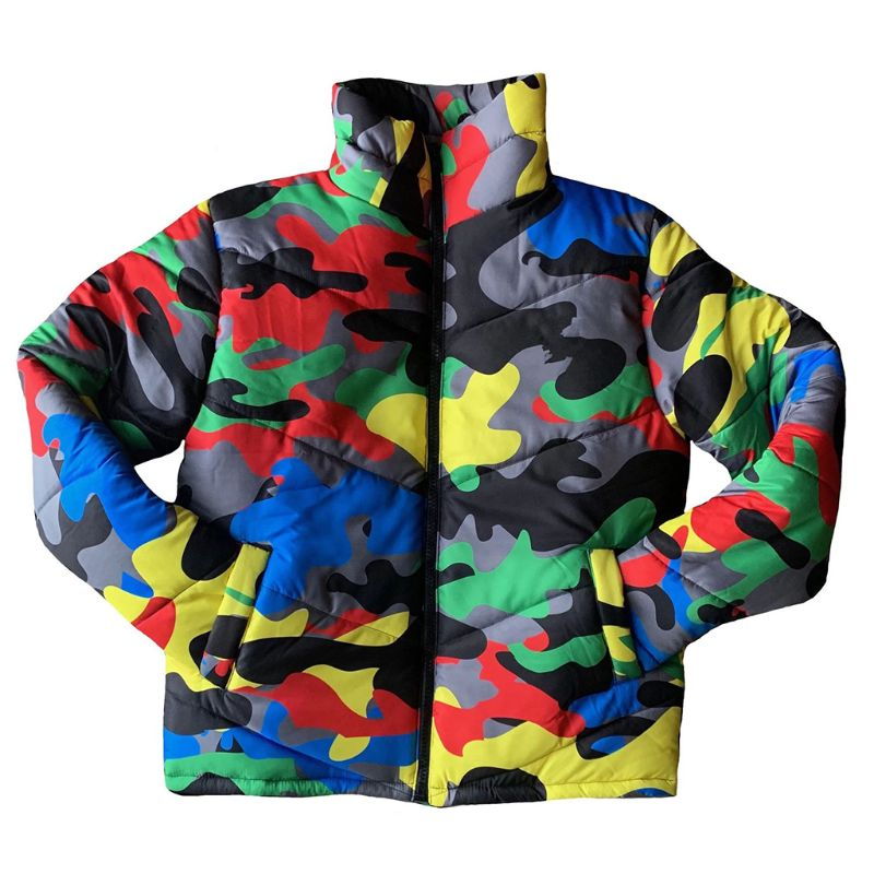 Women Men Winter Turtleneck Down Coat Colorful Camouflage Puffer Jacket Outwear 1 Pc