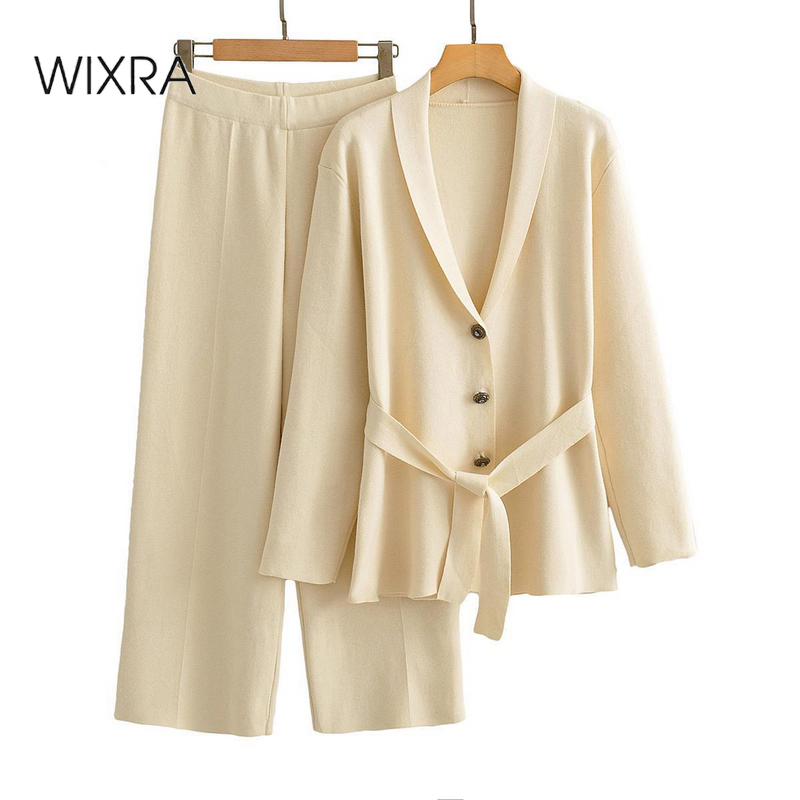 Wixra Womens Gebreide Sets Turn Down Kraag Sjerpen Tops + Elastische Taille Wijde Broek 2 Stuks Suits Herfst lente Ol Kostuum