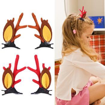 2 sztuk śliczne ręcznie robione spinki do włosów doskonały trwały poliester Metal ręcznie robione poroża spinka do włosów ozdoby do włosów imprezowe dla świąteczny prezent tanie i dobre opinie CN (pochodzenie) Hairpin