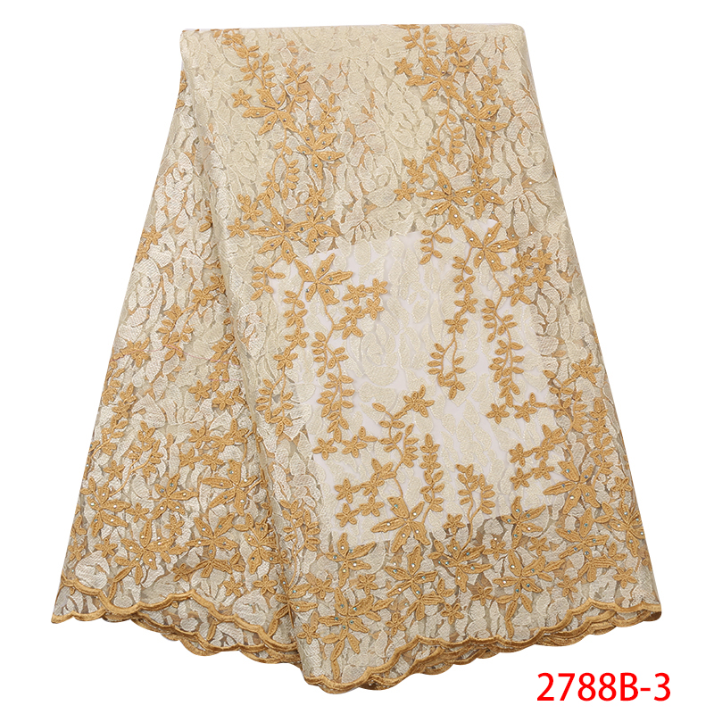 New Arrival Tulle Lace Fabric 2019 High Quality Nigeria French Laces African Embroidered Flower Fabric Lace With Stone KS2788B-3