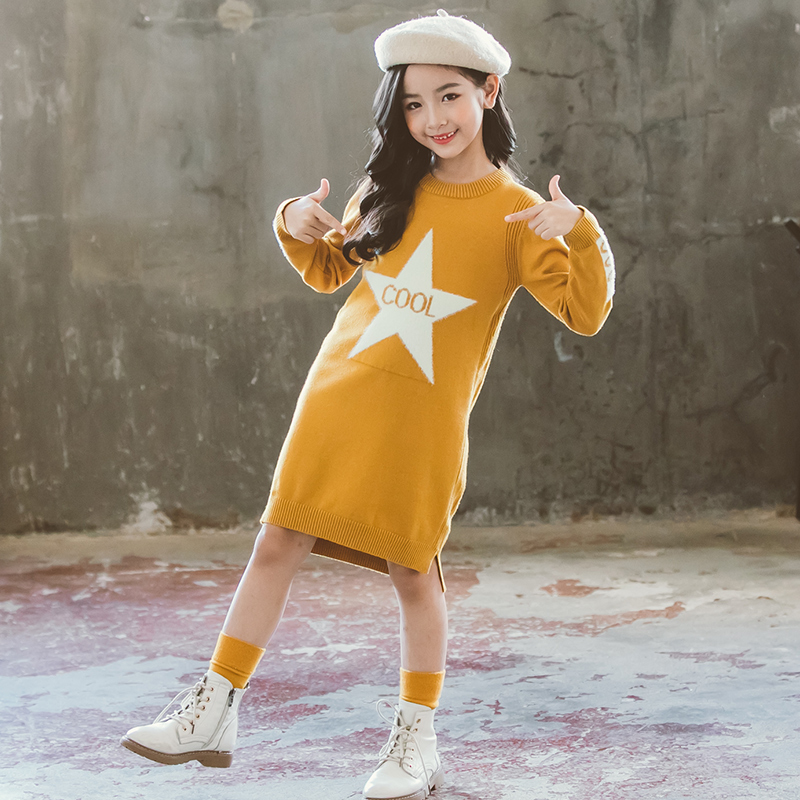 Girl Dress Sweaters Autumn Fall Winter Soft Warm Baby Clothes Top Outfits Teenagers Knitwear 2