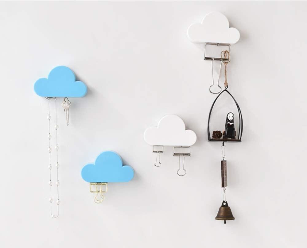 Keyring Easy Hook Creative Iron Sundries Storage Organizer Clouds Shaped Decor Wall Hook Key Holder Magnetic Key Rack Hanger