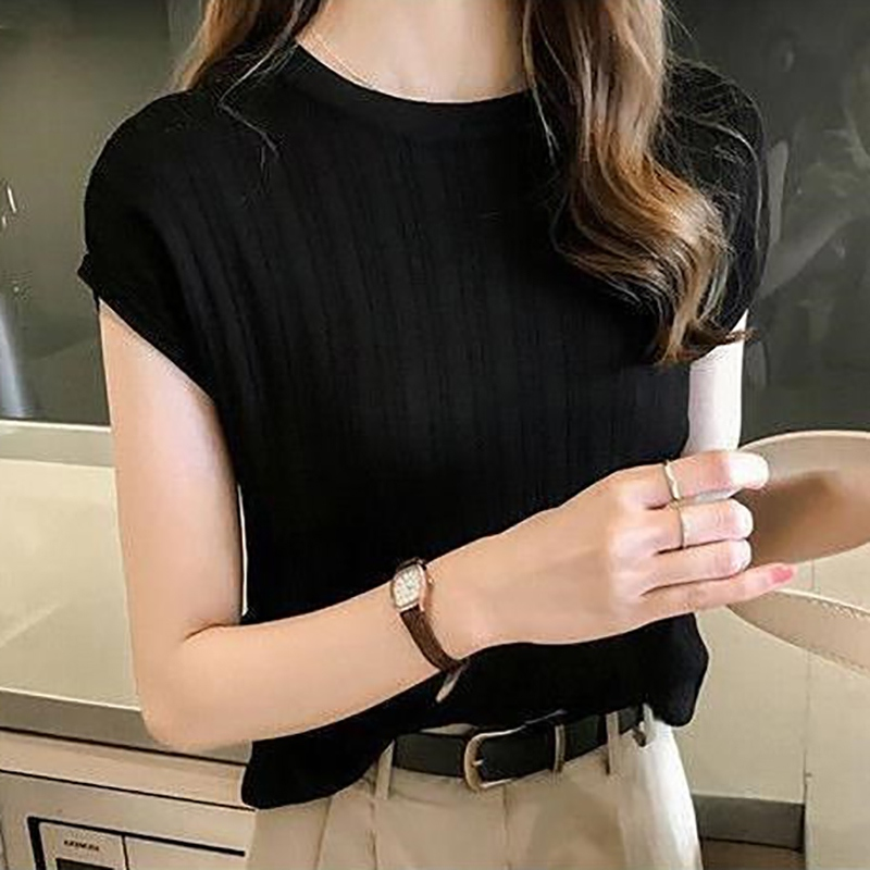 Elegant solid Pullover Knit T Shirt Women Autumn Casual O Neck Short Sleeve Basic Tops Office Ladies Cotton T Shirts 5 color in T Shirts from Women 39 s Clothing