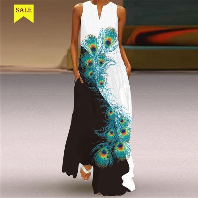 MOVOKAKA 2021 Maxi Dress Women Summer Beach Dot Btterfly Print Sleeveless Elegant Dress V Neck Casual Plus Size Vestidos Dresses 5