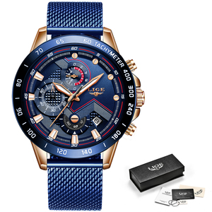 Image 5 - LIGE Fashion New Mens Watches Brand Luxury WristWatch Quartz Clock Blue Watch Men Waterproof Sport Chronograph Relogio Masculino