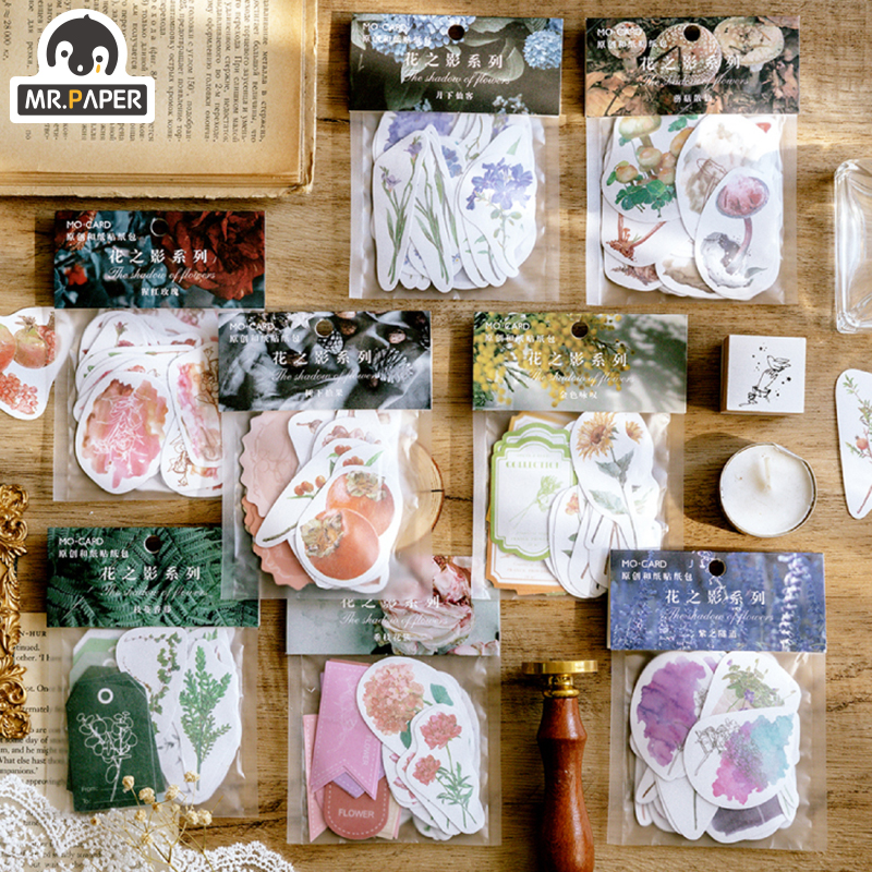 Mr.paper 8 Designs 40Pcs/bag Flowers Fragrant Stickers Scrapbooking Bullet Journal Toy Deco Album Cycle DIY Stationery Stickers