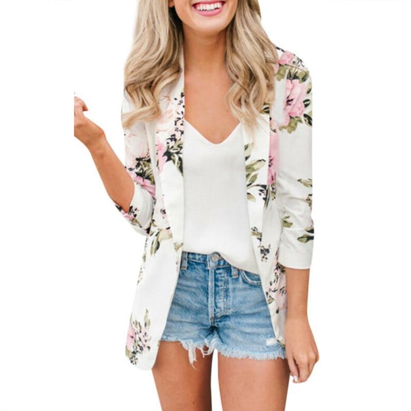 Women Slim Business Blazer Elegant Office Ladies Casual Work Suit Vintage Floral Long Sleeve Coat Jacket Tops Outwear Clothes