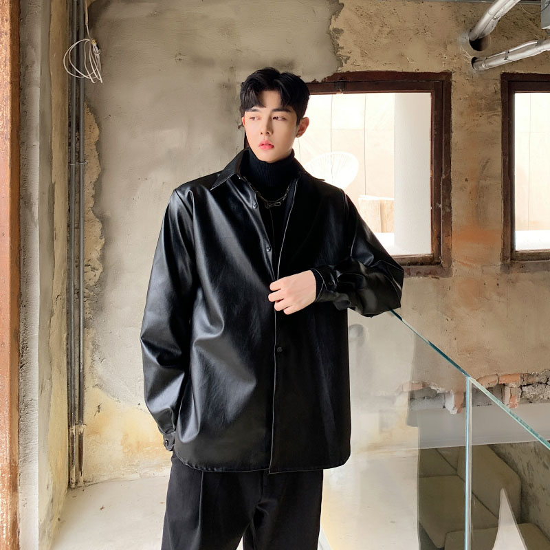 Men Casual Long Sleeve PU Leather Shirt Male Women Streetwear Hip Hop Fashion Loose Shirt Style Jacket Coat
