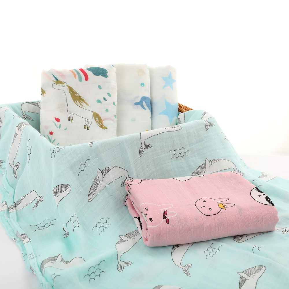 Neweborn Muslin Bamboo Swaddle 70% Bamboo 30% Cotton Towel Infant Wrap Baby Swadle Grinding Sandbag Packaging For Babies Blanket