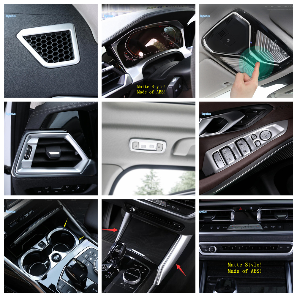 Lapetus Matte Interior Refit Kit For BMW 3 Series G20 2019 2020 Air / Dashboard / Gear Box Panel / Roof Reading Lamps Cover Trim