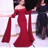 Gorgeous Prom Dress 2019 Long Sleeves Abiye Vintage Prom Gowns Vestido Longo Mermaid Prom Dresses Bead Lace Red Abendkleider