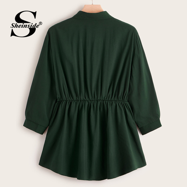 Sheinside Plus Size Green Button Up Longline Blouse Women 2019 Autumn Casual Flared Hem Blouses Ladies Solid Minimalist Top 1