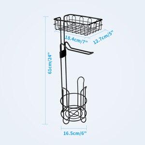 Image 5 - 金属床立ち紙ロールタオルホルダーオーガナイザースタンドトイレットペーパーラック浴室ハードウェア垂直収納バスケット黒