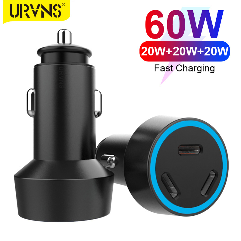 Автомобильное зарядное устройство URVNS с 3 USB-портами, 60 Вт, 20 Вт, Тип C PD 3,0, быстрая зарядка, портативное зарядное устройство для телефона для ...
