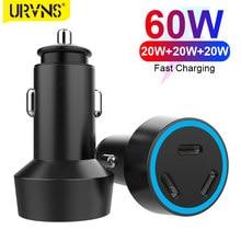 Urvns 3-port 60w usb c carregador de carro 20w tipo c pd 3.0 carregamento rápido carregador de telefone portátil para iphone 12 pro max 11 mini 8 plus