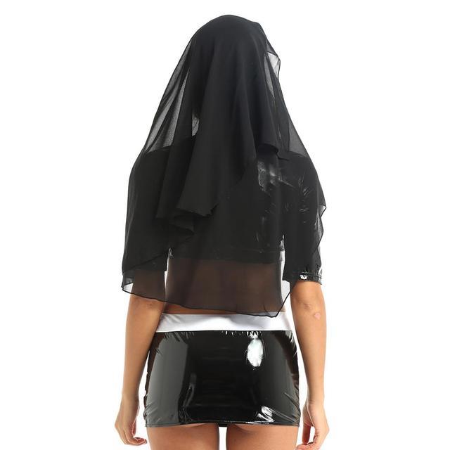 Sexy Nun Halloween Cosplay Costume With Mini Bodycon Skirt + Headpiece #C1540 3