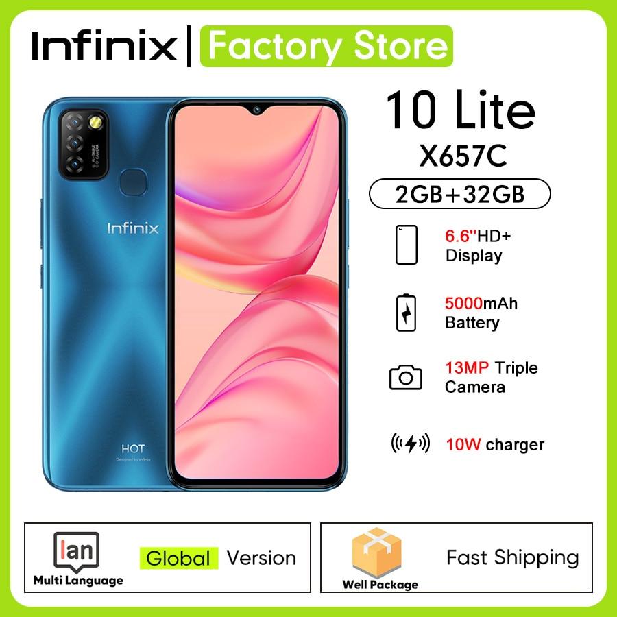 Глобальная версия Infinix Hot 10 Lite 2 Гб ОЗУ 32 Гб ПЗУ 6,6 ''5000 мАч батарея 13MP AI Тройная камера Helio A20 четырехъядерный мобильный X657C