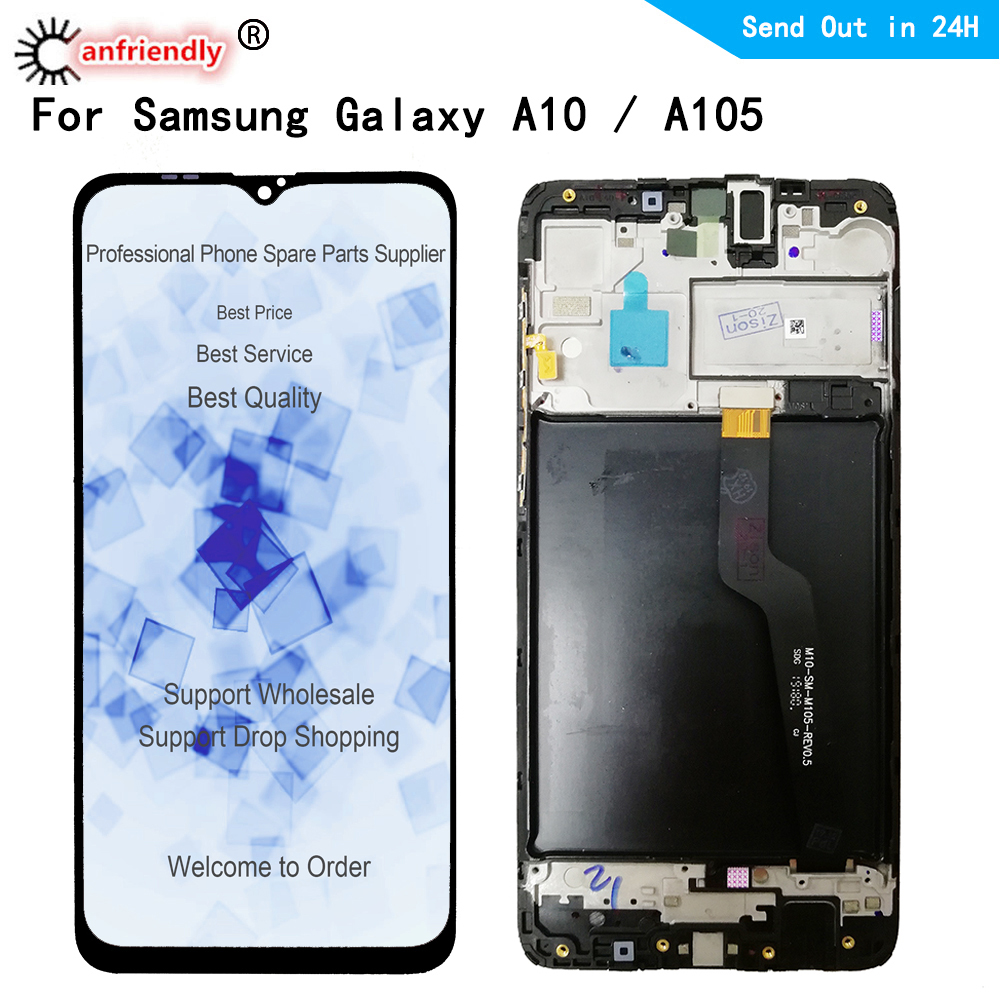 <font><b>LCD</b></font> For <font><b>Samsung</b></font> Galaxy <font><b>A10</b></font> A105 SM-A105F A105G A105FN/DS A105M <font><b>LCD</b></font> display <font><b>Screen</b></font> Touch panel Digitizer with frame Assembly image