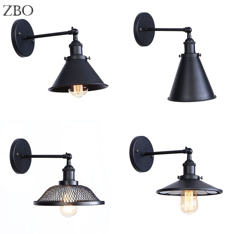 Vintage Wall Lamp Black Iron Lampshade E27 Edison Lamp Base LED Retro Industry American Indoor Lighting For Living Room Aisle
