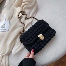 Multi color wool woven cotton colored thread Crocheted shoulder bag women's straddle bag chain strap shoulder bag