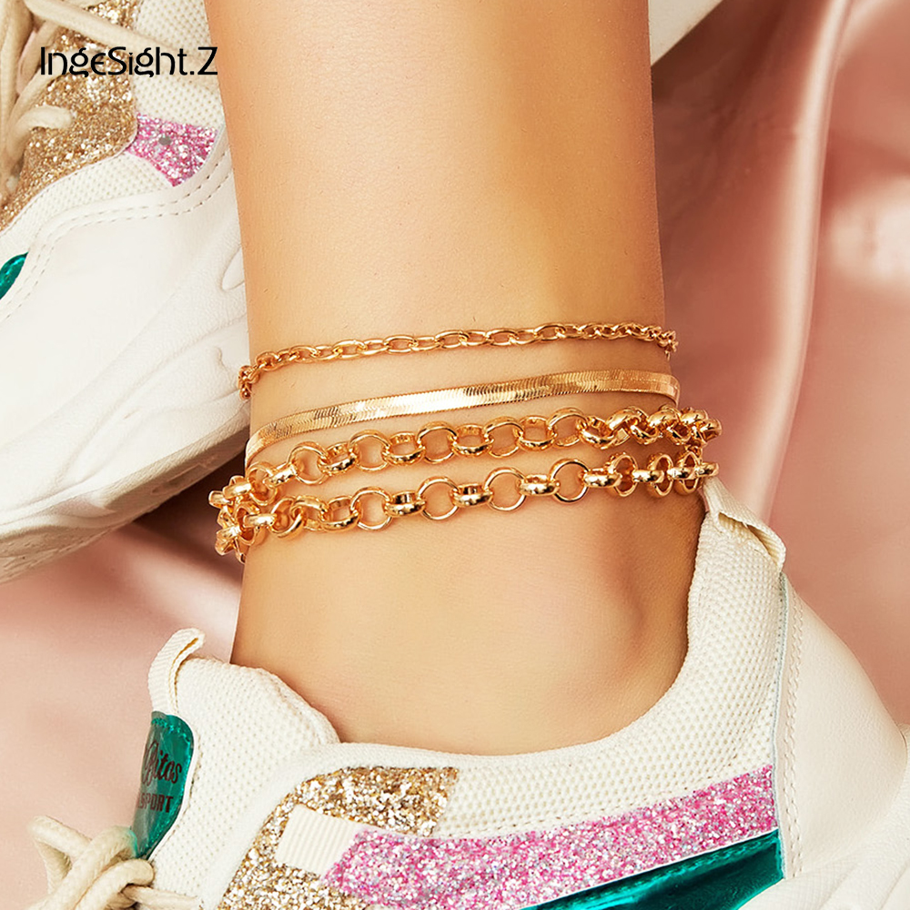 IngeSight.Z 4Pcs/Set Gold Color Copper Snake Chain Anklet Bracelet Metal Curb Cuba Anklet Barefoot Sandals On Foot Ankle Jewelry