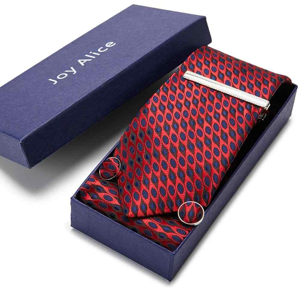 Nouveaux hommes cravates 7.5 cm soie rouge soie Jacquard tissé cravate cravate + mouchoir + pince à cravate + boutons de manchette costume mariage 12568