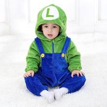 Горячая Распродажа осенних комбинезонов для новорожденных мальчиков и девочек с изображением Марио; детская одежда; фланелевый карнавальный костюм с героями мультфильмов; комбинезон